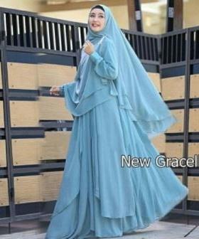 Jual Online Busana Muslim Pesta Gracella Warna Sky Blue Bahan Ceruty