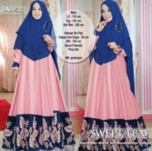 Suplier Baju Gamis Cantik Sweet Leaf Syar'i Warna Pink Bahan Balotelifes