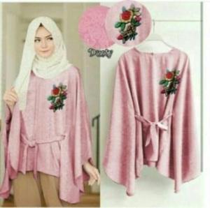 Supplier Baju Atasan Wanita Muslim Jasmine Blouse Warna Dusty Pink Bahan Jaquard