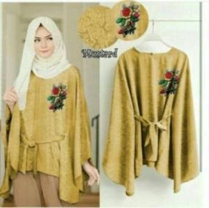 Supplier Baju Atasan Wanita Muslim Jasmine Blouse Warna Mustard Bahan Jaquard