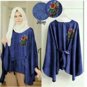 Supplier Baju Atasan Wanita Muslim Jasmine Blouse Warna Navy Bahan Jaquard