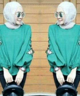 Supplier Baju Atasan Wanita MuslimTerkini Nada Blouse Warna Tosca Bahan Wollycrepe