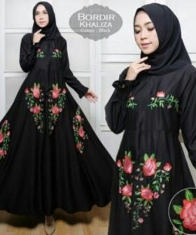 Supplier Baju Gamis Cantik Khaliza Syar'i Warna Hitam Bahan Baloteli