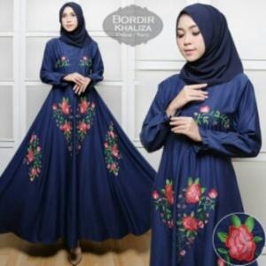 Supplier Baju Gamis Cantik Khaliza Syar'i Warna Navy Bahan Baloteli