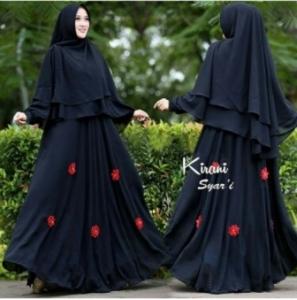 Supplier Baju Gamis Pesta Kirani Syar'i Warna Black Bahan Ceruty Di Tangerang Dan Bekasi