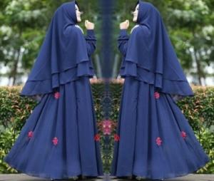 Supplier Baju Gamis Pesta Kirani Syar'i Warna Navy Bahan Ceruty Di Tangerang Dan Bekasi