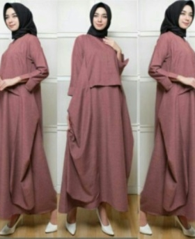 Supplier Busana Muslim Modern Sandhi Warna Maroon Bahan Linen Jepang
