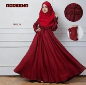 Supplier Busana Muslim Murah Adreena Warna Maroon Bahan Baloteli