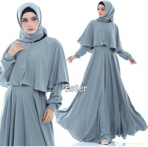 Supplier Busana Muslim Terbaru Ester Warna dusty Blue Bahan Pacote