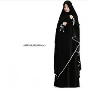 Supplier Gamis Gundam Syar'i Warna Black Bahan Wollycrepe