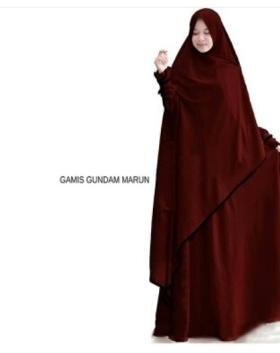 Supplier Gamis Gundam Syar'i Warna Dark Maroon Bahan Wollycrepe