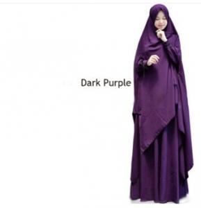 Supplier Gamis Gundam Syar'i Warna Dark Purple Bahan Wollycrepe