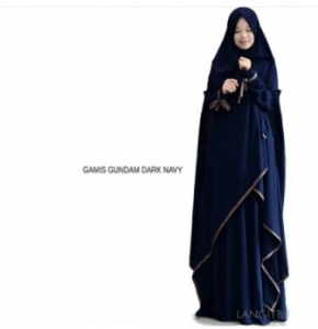 Supplier Gamis Gundam Syar'i Warna Navy Bahan Wollycrepe
