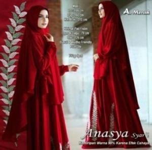 Supplier Gamis Muslimah Anansya Syar'i Warna Merah Bahan Wollycrepe