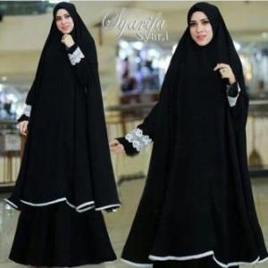 Supplier Gamis Muslimah Syarifa Syar'i Warna Black Bahan Bubblepop