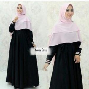 Supplier Gamis Muslimah Yumna Syar'i Warna Black Bahan Balotelli