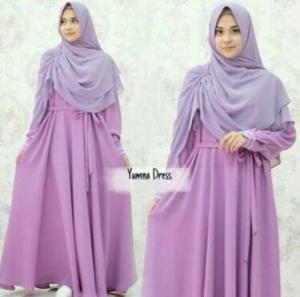 Supplier Gamis Muslimah Yumna Syar'i Warna Lavender Bahan Balotelli