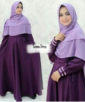 Supplier Gamis Muslimah Yumna Syar'i Warna Purple Bahan Balotelli