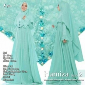 Supplier Gamis Terbaru Hamiza Syar'i Warna Biru Bahan Bubble Pop Embos