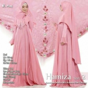 Supplier Gamis Terbaru Hamiza Syar'i Warna Pink Bahan Bubble Pop Embos