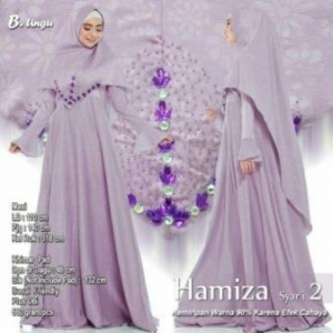 Supplier Gamis Terbaru Hamiza Syar'i Warna Ungu Bahan Bubble Pop Embos