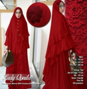 Agen Gamis PEsta Lady Conita Syar'i Warna Merah Bahan Ceruty