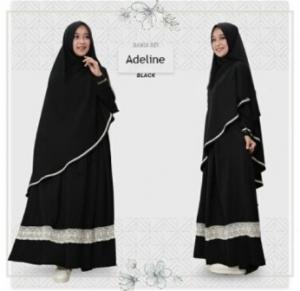 Baju Gamis Adeline Syar'i Murah Dan Cantik warna Black Bahan Wollycrepe