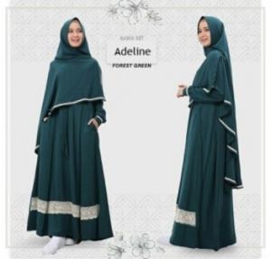 Baju Gamis Adeline Syar'i Murah Dan Cantik warna Dark Green Bahan Wollycrepe
