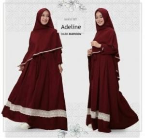 Baju Gamis Adeline Syar'i Murah Dan Cantik warna Dark Maroon Bahan Wollycrepe