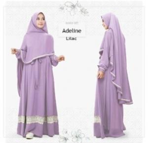 Baju Gamis Adeline Syar'i Murah Dan Cantik warna LyllacBahan Wollycrepe