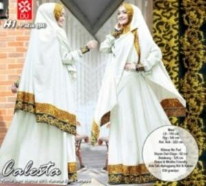 Baju Gamis Calesta Syar'i Warna Putih Bahan Balotelifes