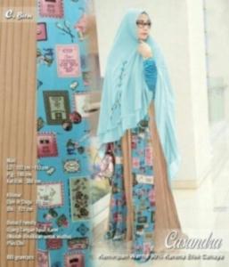Baju Gamis Murah Dan CAntik Casandra Syar'i Warna Biru Bahan Spandek Kombinasi