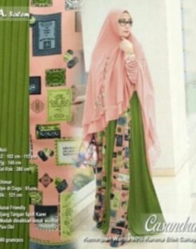 Baju Gamis Murah Dan CAntik Casandra Syar'i Warna Salem Bahan Spandek Kombinasi