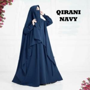 Baju Gamis Qirani Syar'i Warna Navy Bahan Misbie