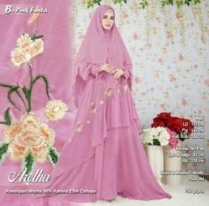 Baju Gamis Tanah Abang Untuk Pesta Online Aretha Syar'i Warna Pink Fanta Bahan Ceruty Premium