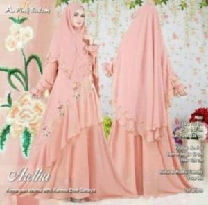 Baju Gamis Tanah Abang Untuk Pesta Online Aretha Syar'i Warna Pink Salem Bahan Ceruty Premium