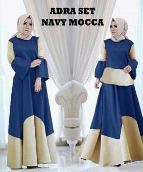 Baju Muslim Setelan Rok PanjangAdra Set Warna Navy Mocca