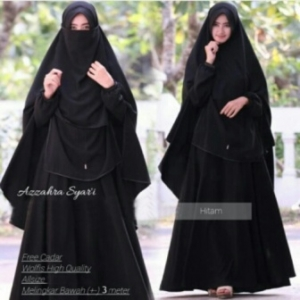 Baju Online Murah Berkualitas Azzahra Syar'i Warna Black Bahan Woolpeach