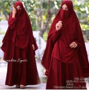 Baju Online Murah Berkualitas Azzahra Syar'i Warna Maroon Bahan Woolpeach