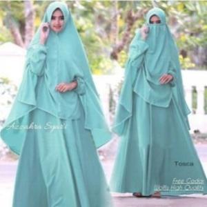 Baju Online Murah Berkualitas Azzahra Syar'i Warna Tosca Bahan Woolpeach
