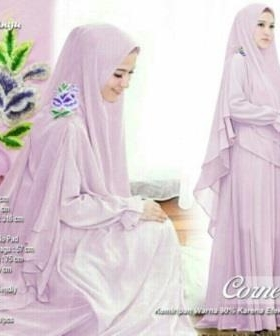 Butik Gaun Pesta Muslimah Cornelia Syar'i Warna Ungu Bahan Ceruty Premium
