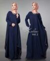 Distributor Baju Muslim Modern Kalea Dress Warna Navy Bahan Wolly Crepe