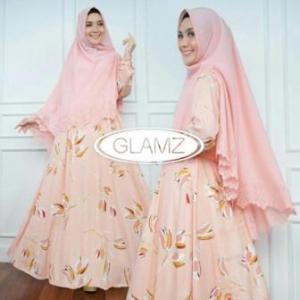 Distributor Baju Muslim Terbaru Navisha Syar'i Warna Peach Bahan Maxmara