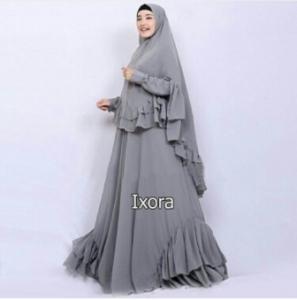 Distributor Baju Muslimah Pesta Ixora Syar'i Warna Grey Bahan Ceruty
