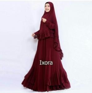 Distributor Baju Muslimah Pesta Ixora Syar'i Warna Maroon Bahan Ceruty