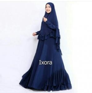 Distributor Baju Muslimah Pesta Ixora Syar'i Warna Navy Bahan Ceruty