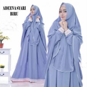 Gaun Pesta Muslimah Elegan Adeeva Syar'i Warna Biru Bahan Misbie