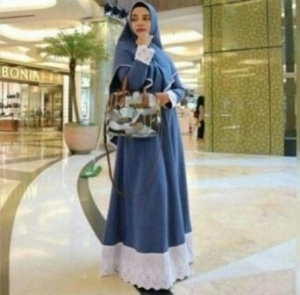 Grosir Baju Gamis Tanah Abang Terbaru Salwa Syar'i Warna Blue Bahan Katun Denim