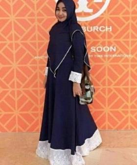 Grosir Baju Gamis Tanah Abang Terbaru Salwa Syar'i Warna Navy Bahan Katun Denim