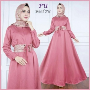 Grosir Gamis Modern Murah Alya Warna Pink Bahan Balotelli